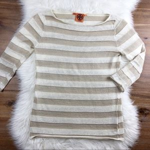 Tory Burch | Metallic Gold Striped 3/4 Sleeve Top